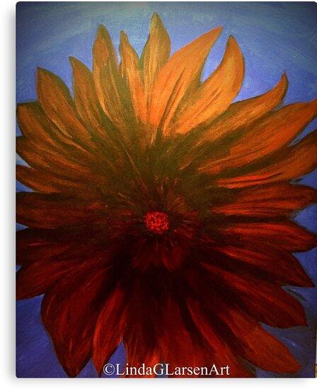 Red Flower Blue Sky by LindaGLarsen by lindaglarsen