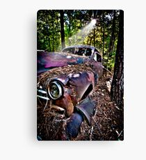 """It's Been A Ride"" - old automobile in woods Canvas Print"