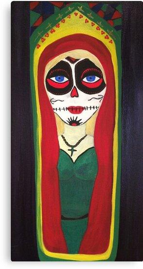 Sugar Skull Mexican Candle by LindaGLarsen by lindaglarsen