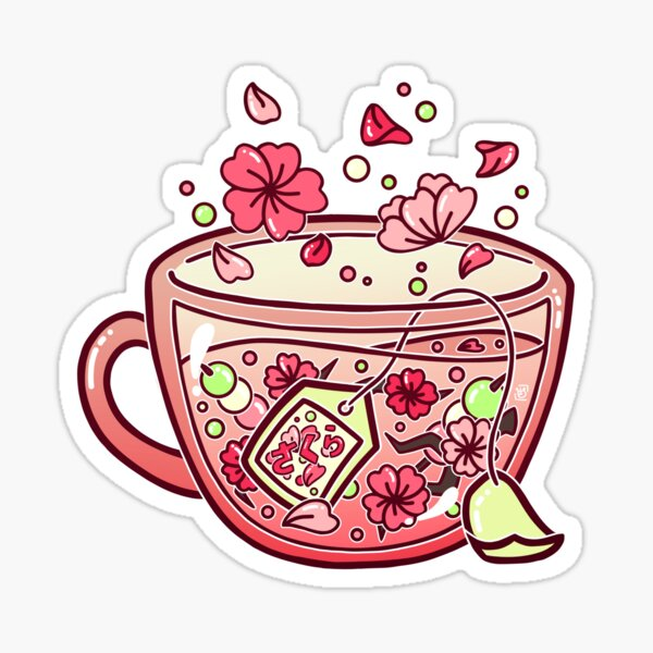 Glass Sakura Tea Sticker