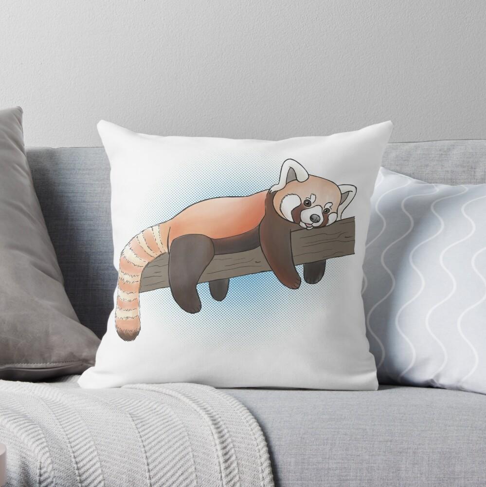 Red Panda On A Limb Throw Pillow