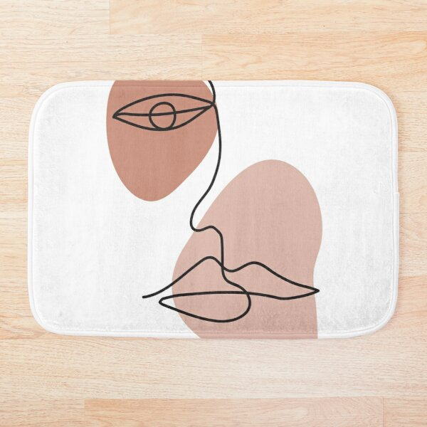 Abstract one line face Bath Mat