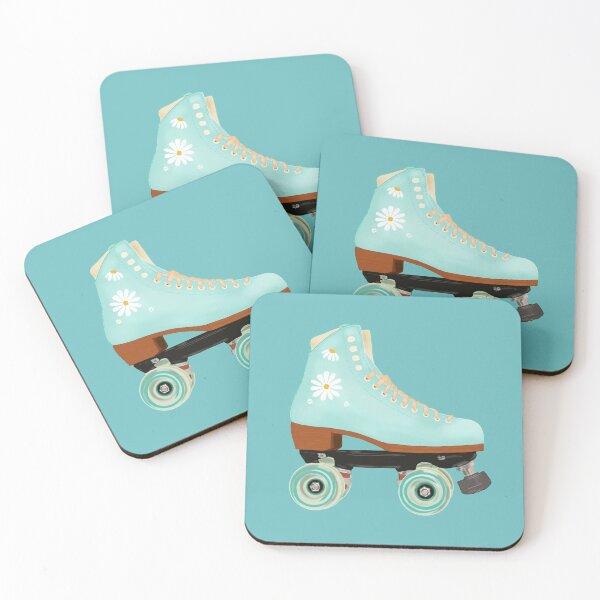 Retro green pastel roller skate Coasters (Set of 4)