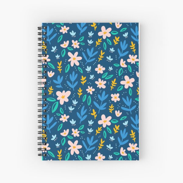Colorful flowers on deep blue background  Spiral Notebook