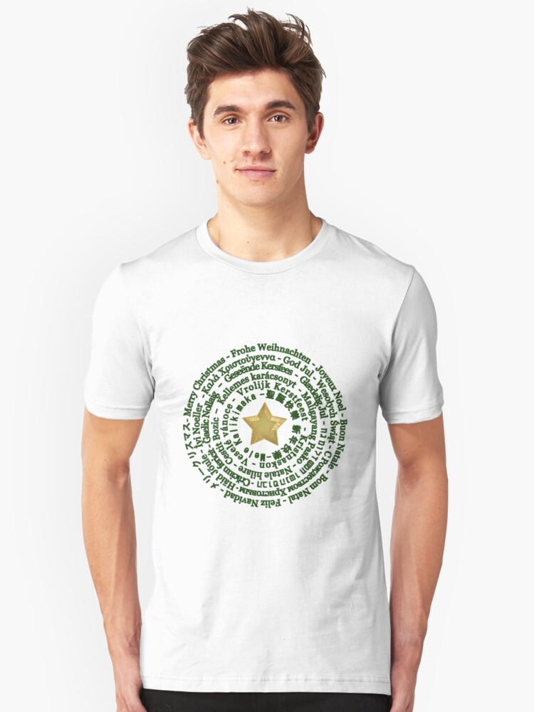 Merry Christmas in Different Languages - Green design Unisex T-Shirt Front