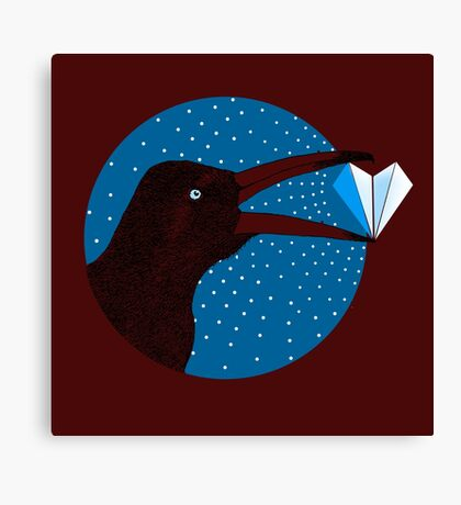 Magpie's Winter Heart Canvas Print