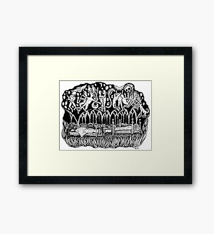 Dreams surreal black and white pen ink drawing Framed Print