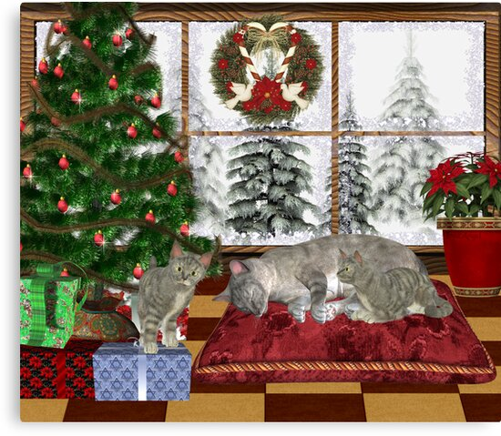 Cat and Kittens .. December Cats by LoneAngel