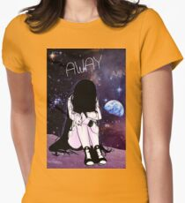 Anime Sad girl gone away on the Moon Womens Fitted T-Shirt