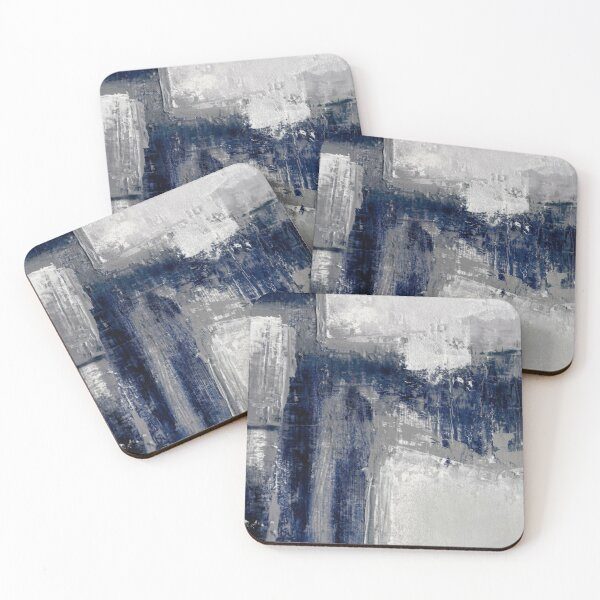 blue gray abstract Coasters (Set of 4)