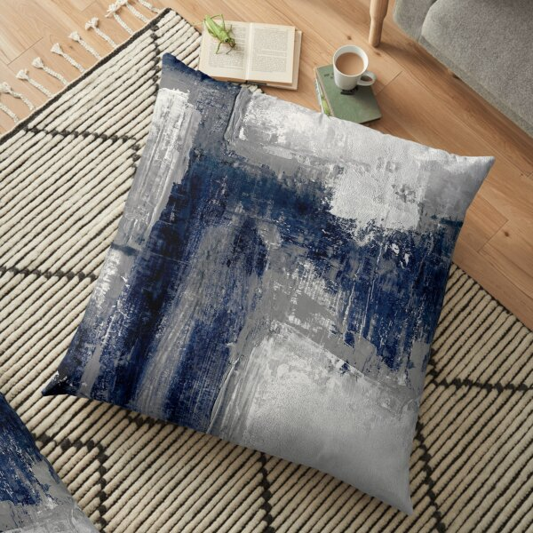 blue gray abstract Floor Pillow