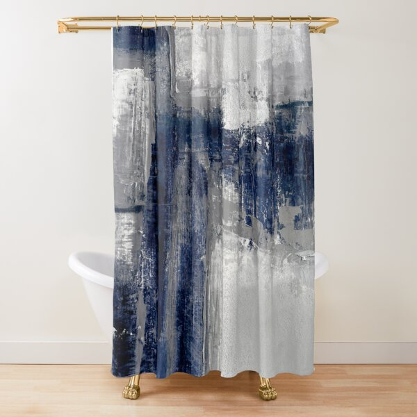 blue gray abstract Shower Curtain