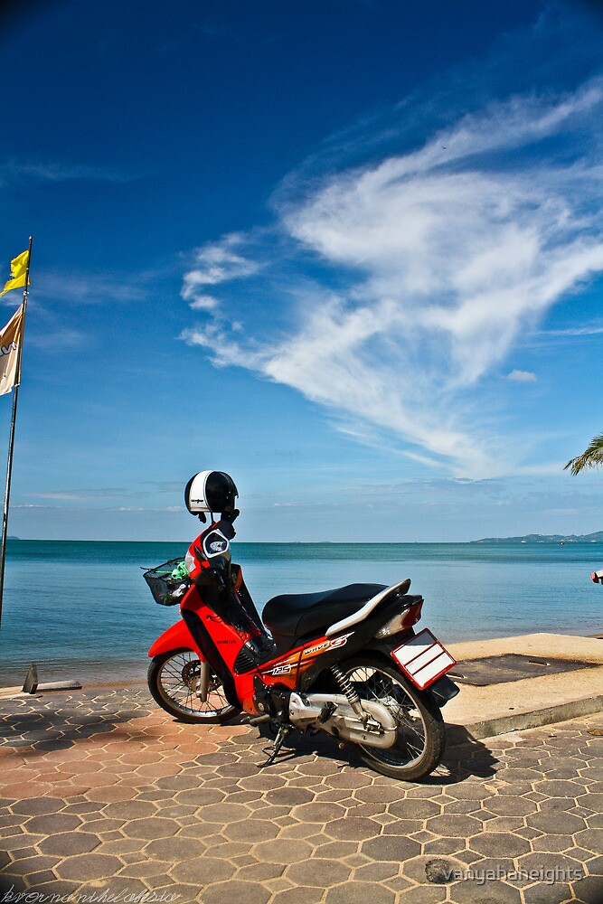 Red Moped at Seaside by vanyahaheights