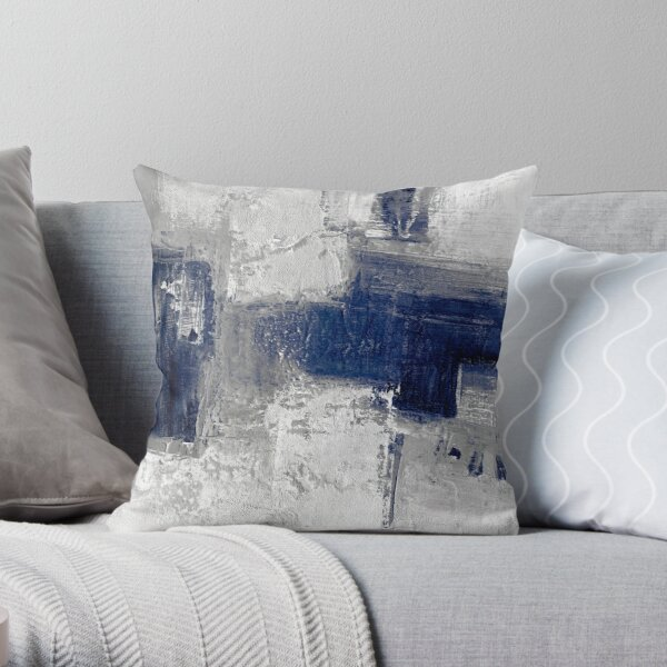 Blue gray abstract Throw Pillow