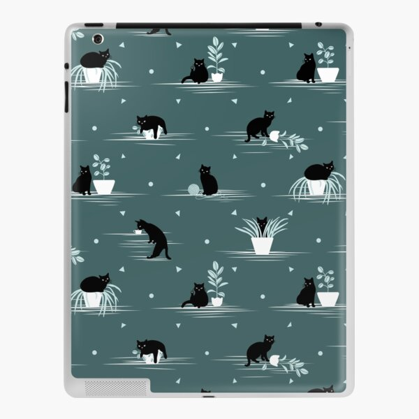 When the Black Cat is Alone at Home (Dark Green) iPad Skin