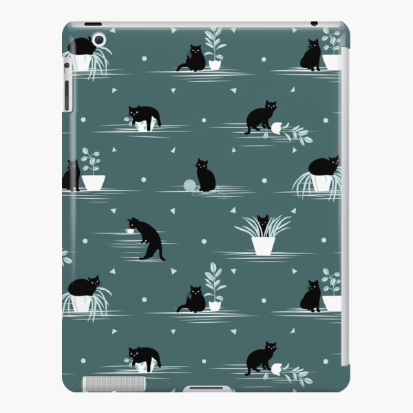 When the Black Cat is Alone at Home (Dark Green) iPad Snap Case