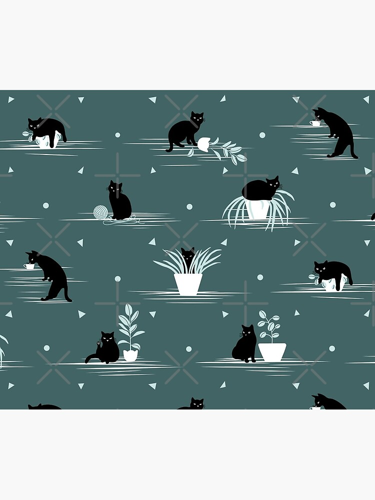 When the Black Cat is Alone at Home (Dark Green) by runcatrun