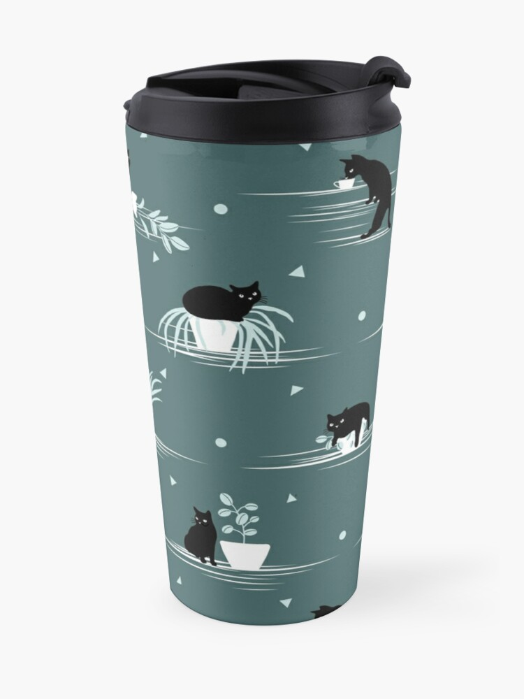 Alternate view of When the Black Cat is Alone at Home (Dark Green) Travel Mug