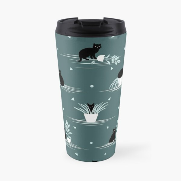 When the Black Cat is Alone at Home (Dark Green) Travel Mug