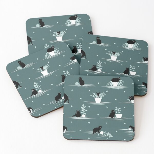 When the Black Cat is Alone at Home (Dark Green) Coasters (Set of 4)
