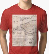 Camiseta de tejido mixto Vintage Map of New York City (1860) 2