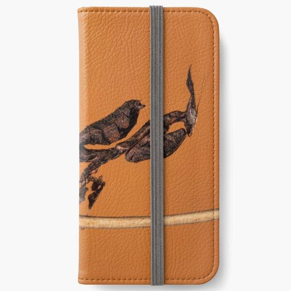 Ghost mantis against orange iPhone Wallet