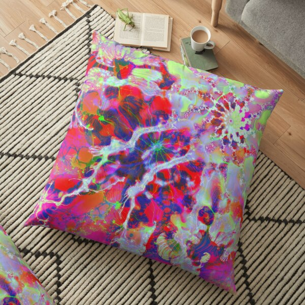 Fractalize Crimson Floor Pillow