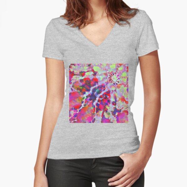 Fractalize Crimson Fitted V-Neck T-Shirt