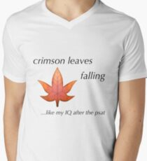 PSAT Crimson Leaves Falling Men's V-Neck T-Shirt