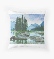 Spirit Island, Lake Maligne Throw Pillow