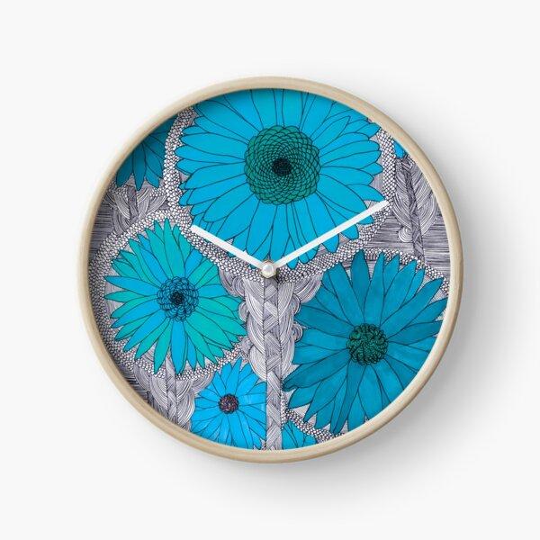 Gerbera Daisy-Teal Clock