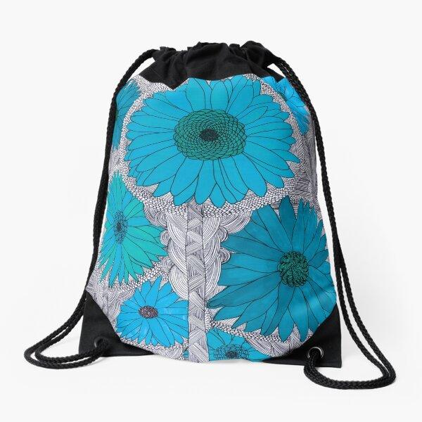 Gerbera Daisy-Teal Drawstring Bag
