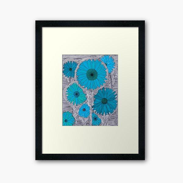 Gerbera Daisy-Teal Framed Art Print
