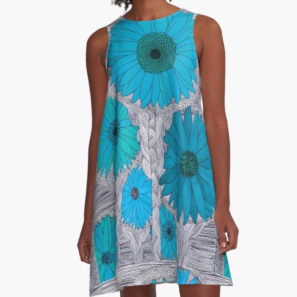 Gerbera Daisy-Teal A-Line Dress