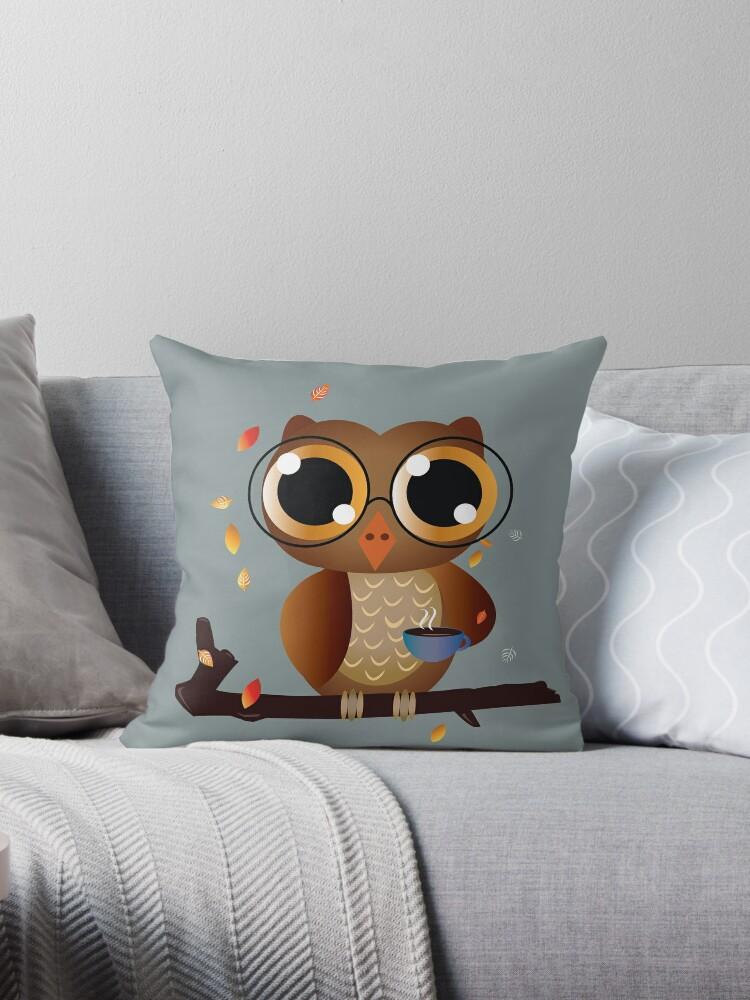 Owl drinking coffee by underwatercity