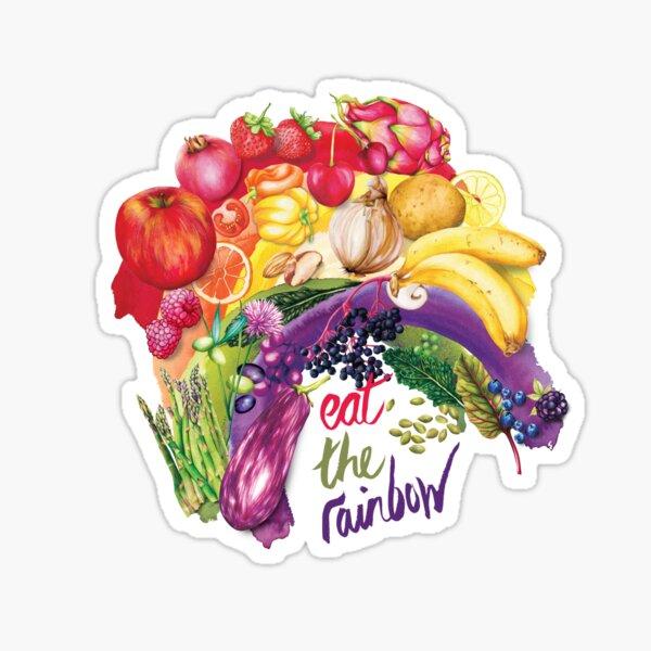 Eat The Rainbow - Watercolour food illustration Sticker