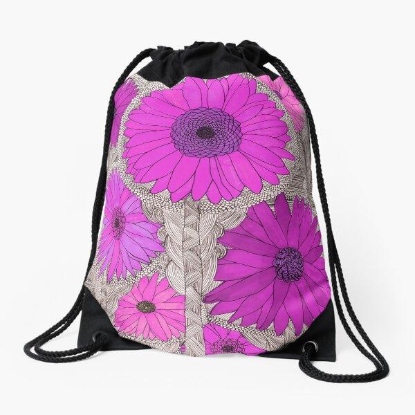 Gerbera Daisy- Magenta Drawstring Bag