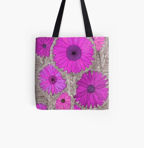 Gerbera Daisy- Magenta All Over Print Tote Bag