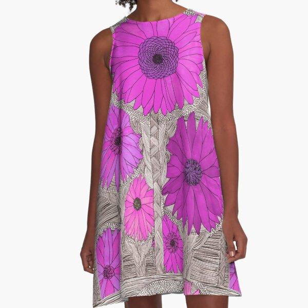 Gerbera Daisy- Magenta A-Line Dress
