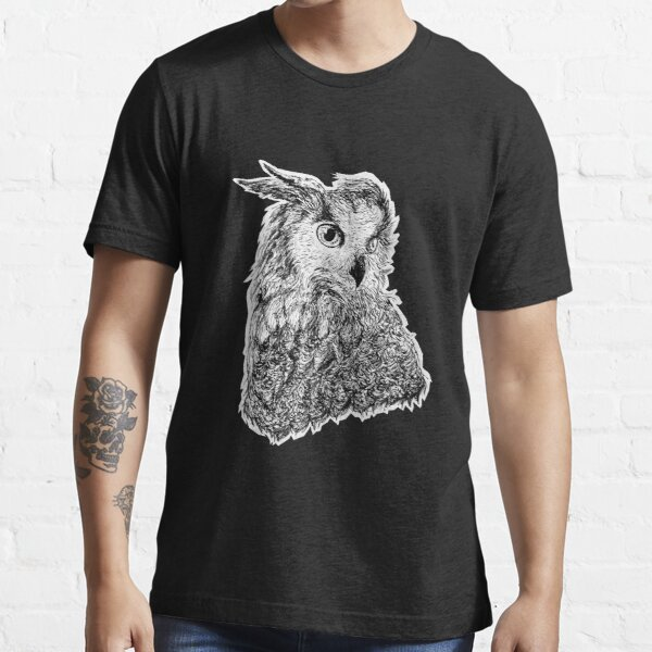 Black and white owl ink drawing Essential T-Shirt