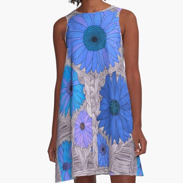 Gerbera Daisy- Blue A-Line Dress