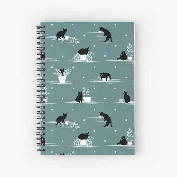 When the Black Cat is Alone at Home (Light Green) Spiral Notebook