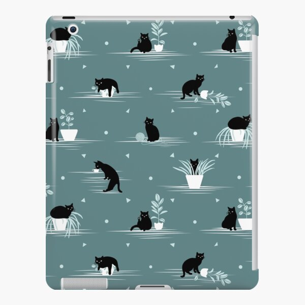 When the Black Cat is Alone at Home (Light Green) iPad Snap Case