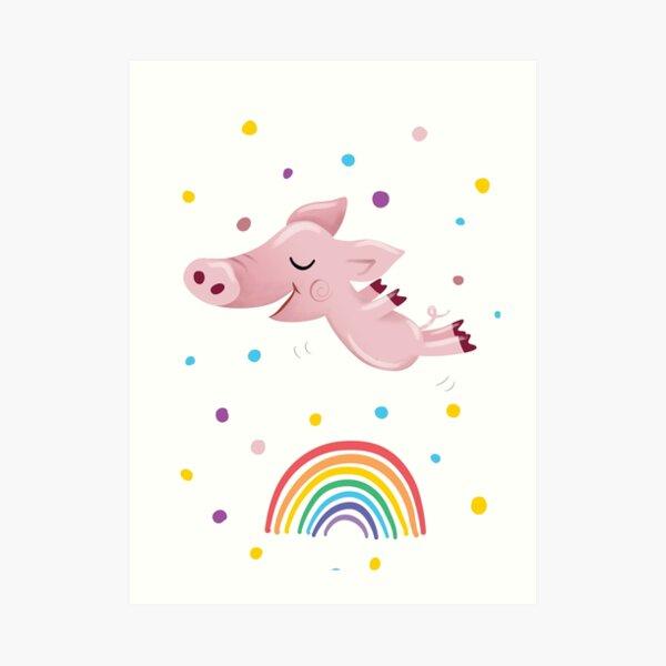 Rainbow Pig Art Print