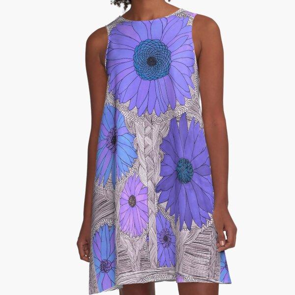 Gerbera Daisy- Purple A-Line Dress