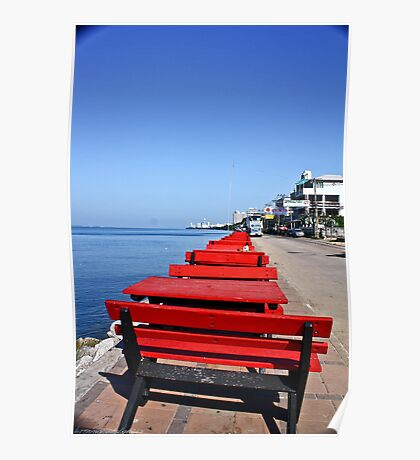 Red Benches By the Beach Poster