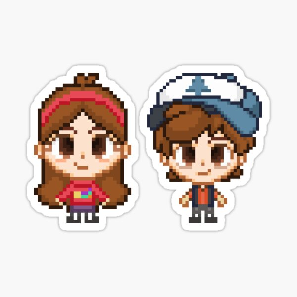 Mystery Twins Pixels Sticker