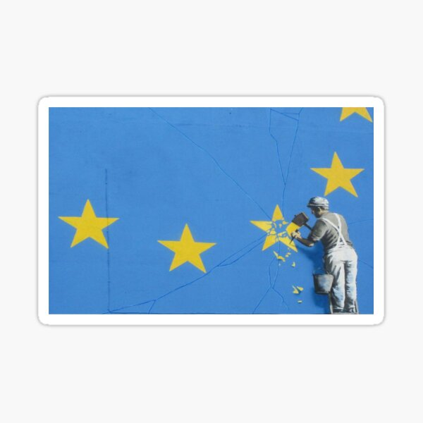 Banksy brexit, Shattering the EU flag. Sticker