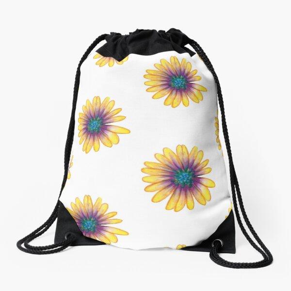 Yellow Flower Drawstring Bag