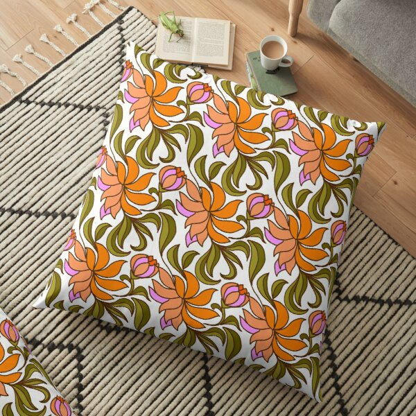 60s vintage design Orange flowers  Floor Pillow